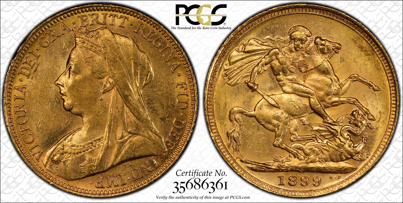 Australia 1899 Sydney Sovereign PCGS MS61