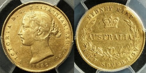 1862 Sydney Half Sovereign PCGS AU55