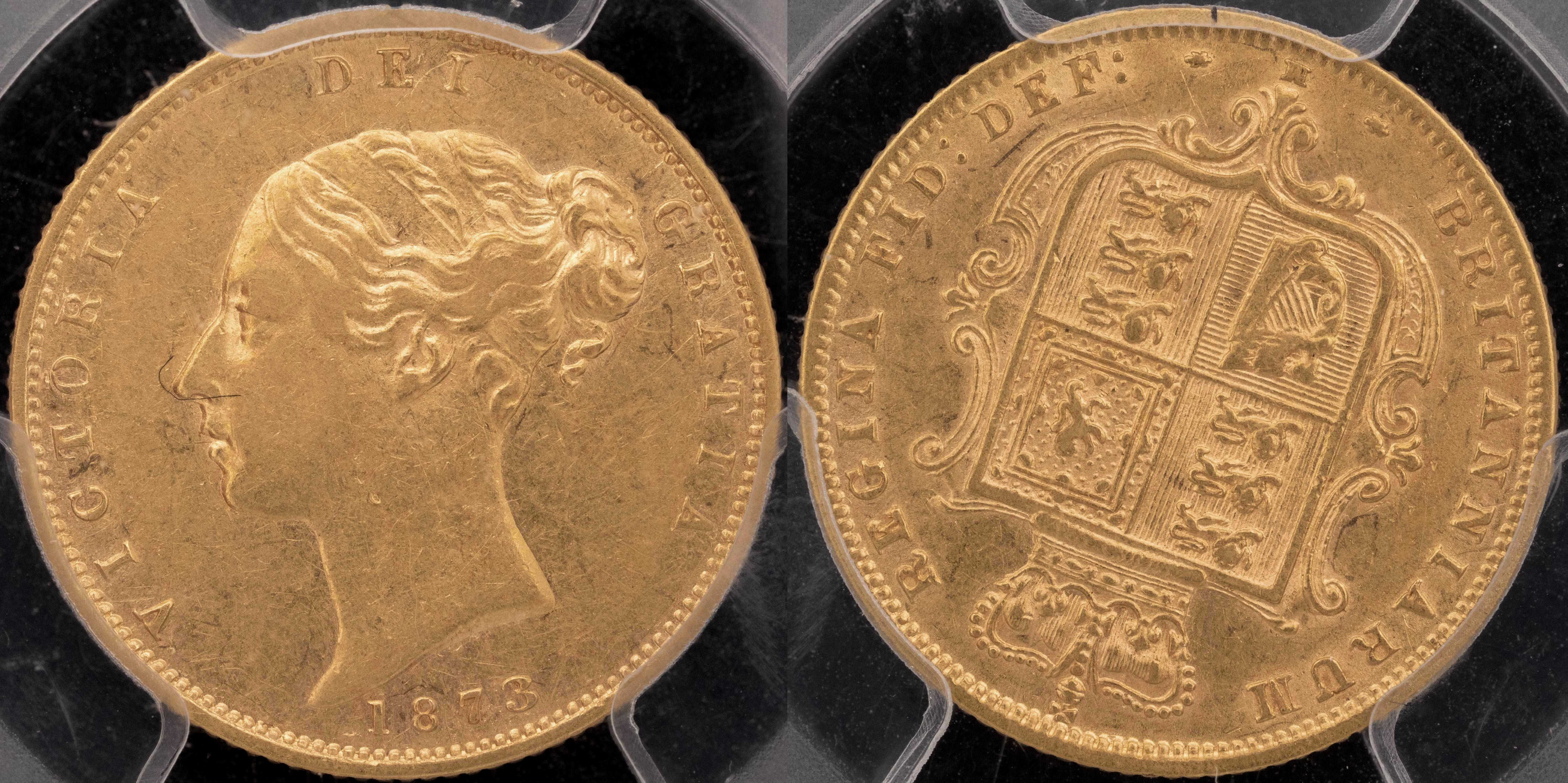 Australia 1873 Melbourne Half Sovereign PCGS AU50