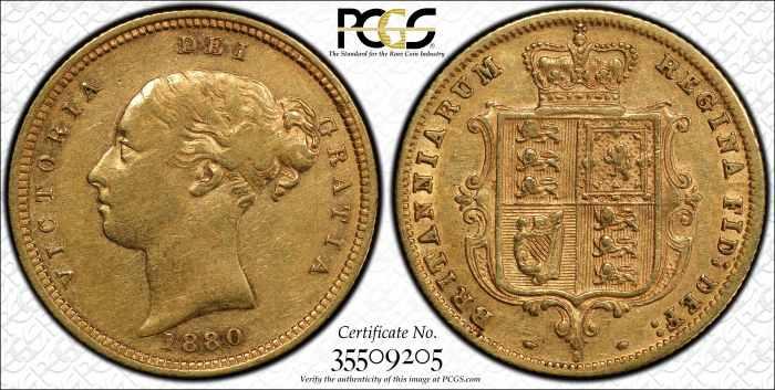 Australia 1880 Sydney Half Sovereign PCGS XF45
