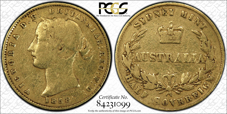 Australia 1858 RR Half Sovereign PCGS VG Grade