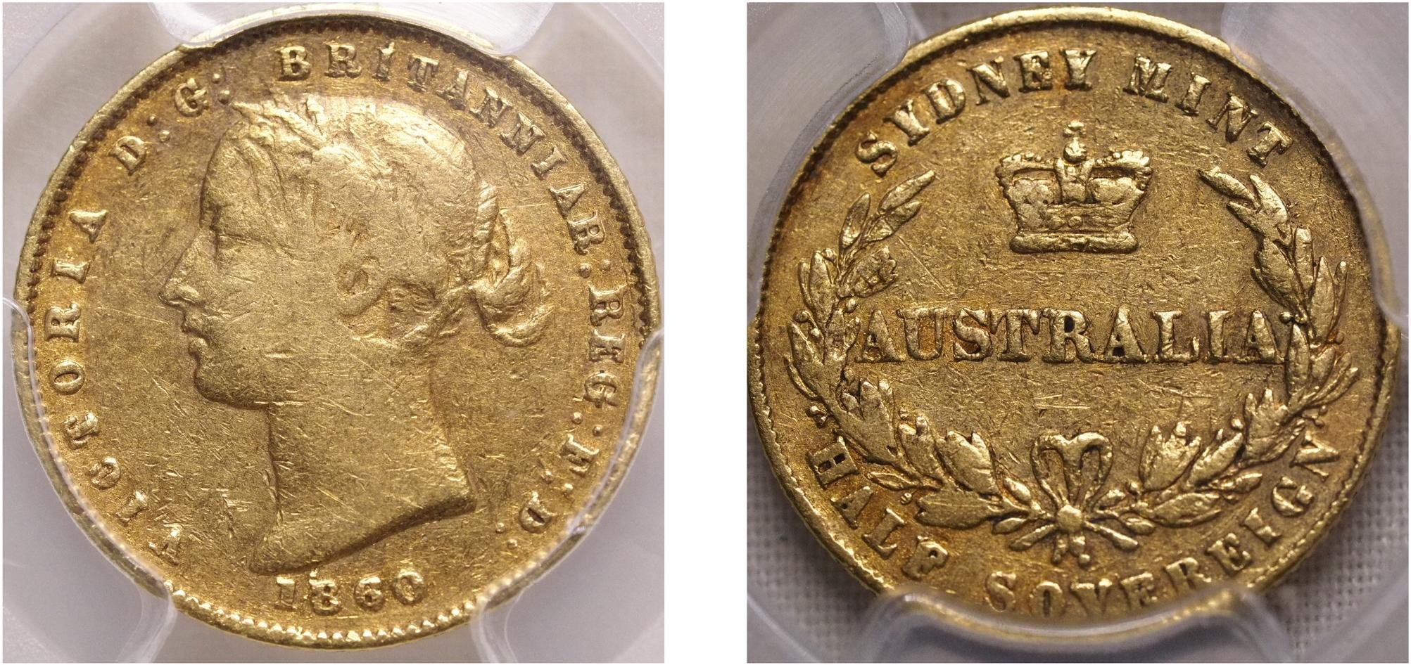 Australia 1860 Sydney Half Sovereign PCGS VF30