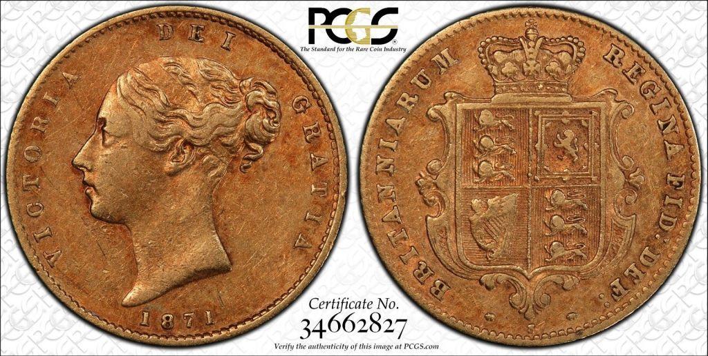 Australia 1871 Sydney Half Sovereign PCGS XF45