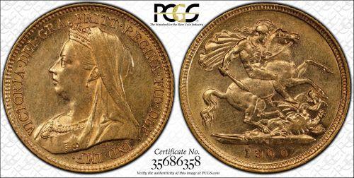 Australia 1900 Sydney Half Sovereign PCGS AU58