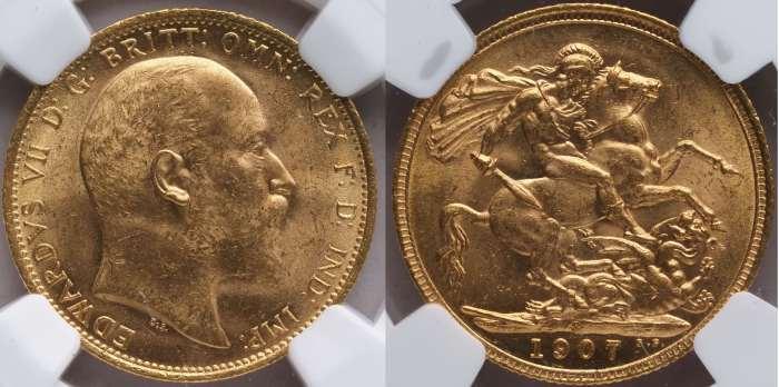 Australia 1907 Sydney Sovereign NGC MS64