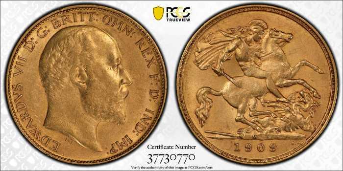 Australia 1909 Melbourne Half Sovereign PCGS AU55