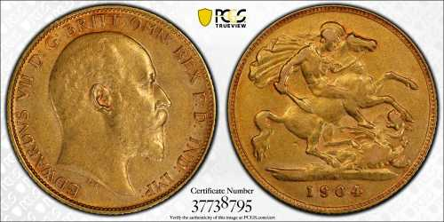 Australia 1904 Perth Half Sovereign PCGS AU50