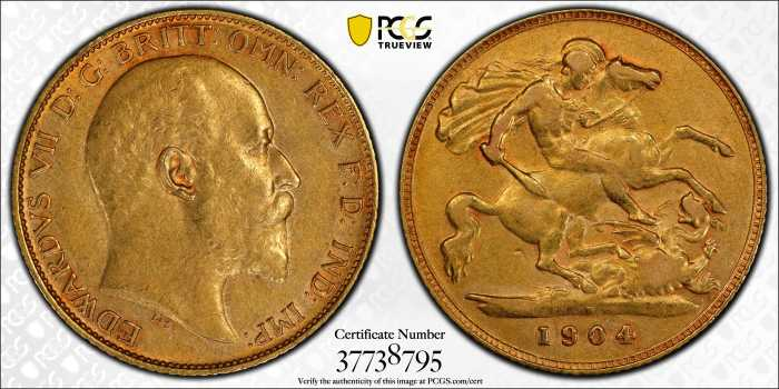 Australia 1904 Perth Half Sovereign PCGS AU50