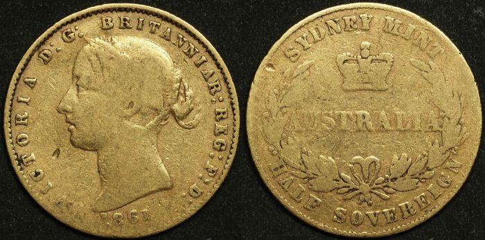 Australia 1861 Sydney Half Sovereign F Details