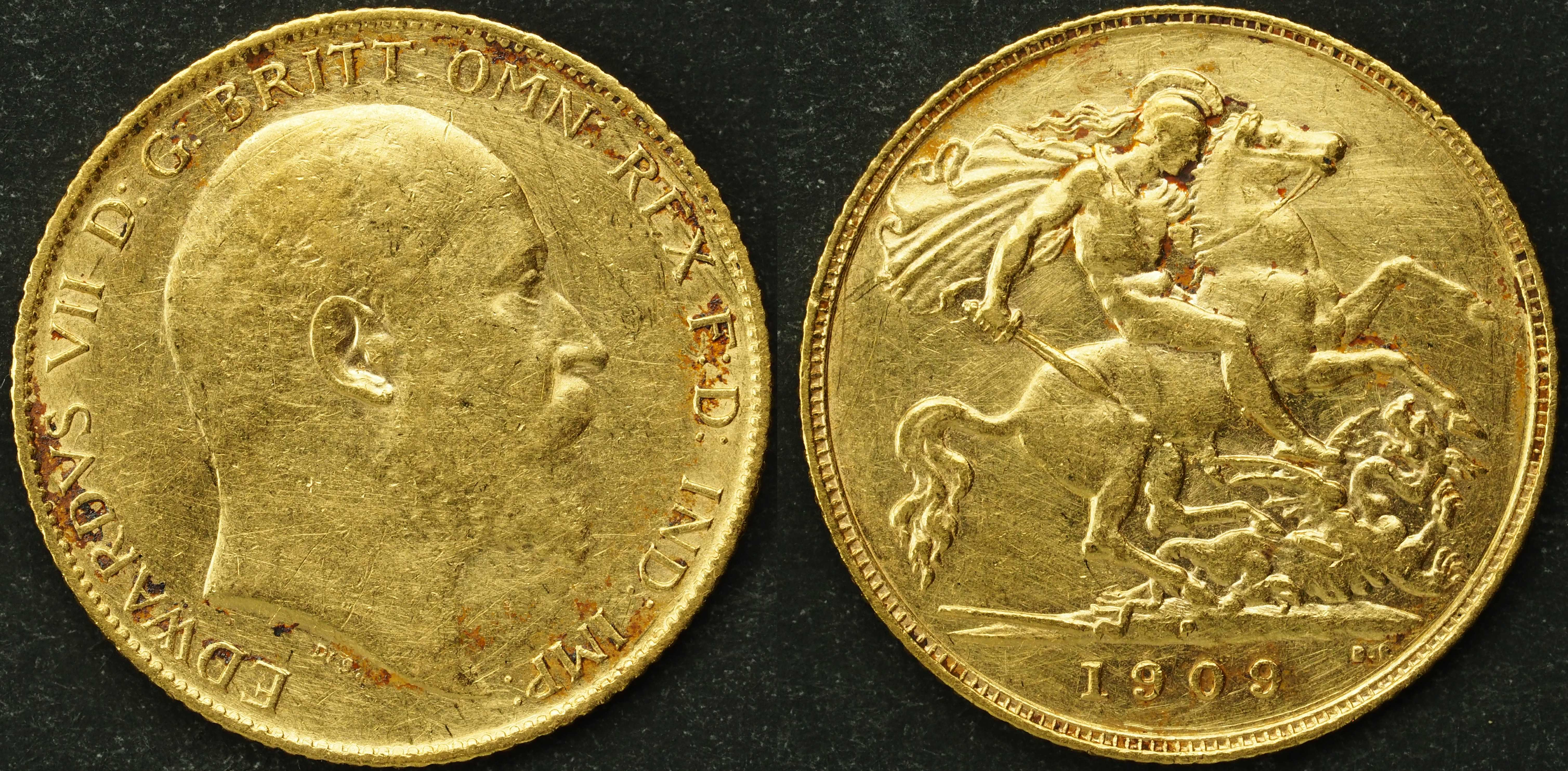 Australia 1909 Perth Half Sovereign VF Details
