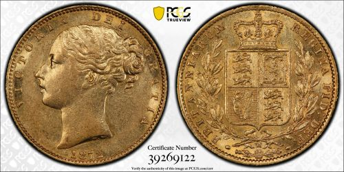 Australia 1872 Melbourne Sovereign PCGS AU58