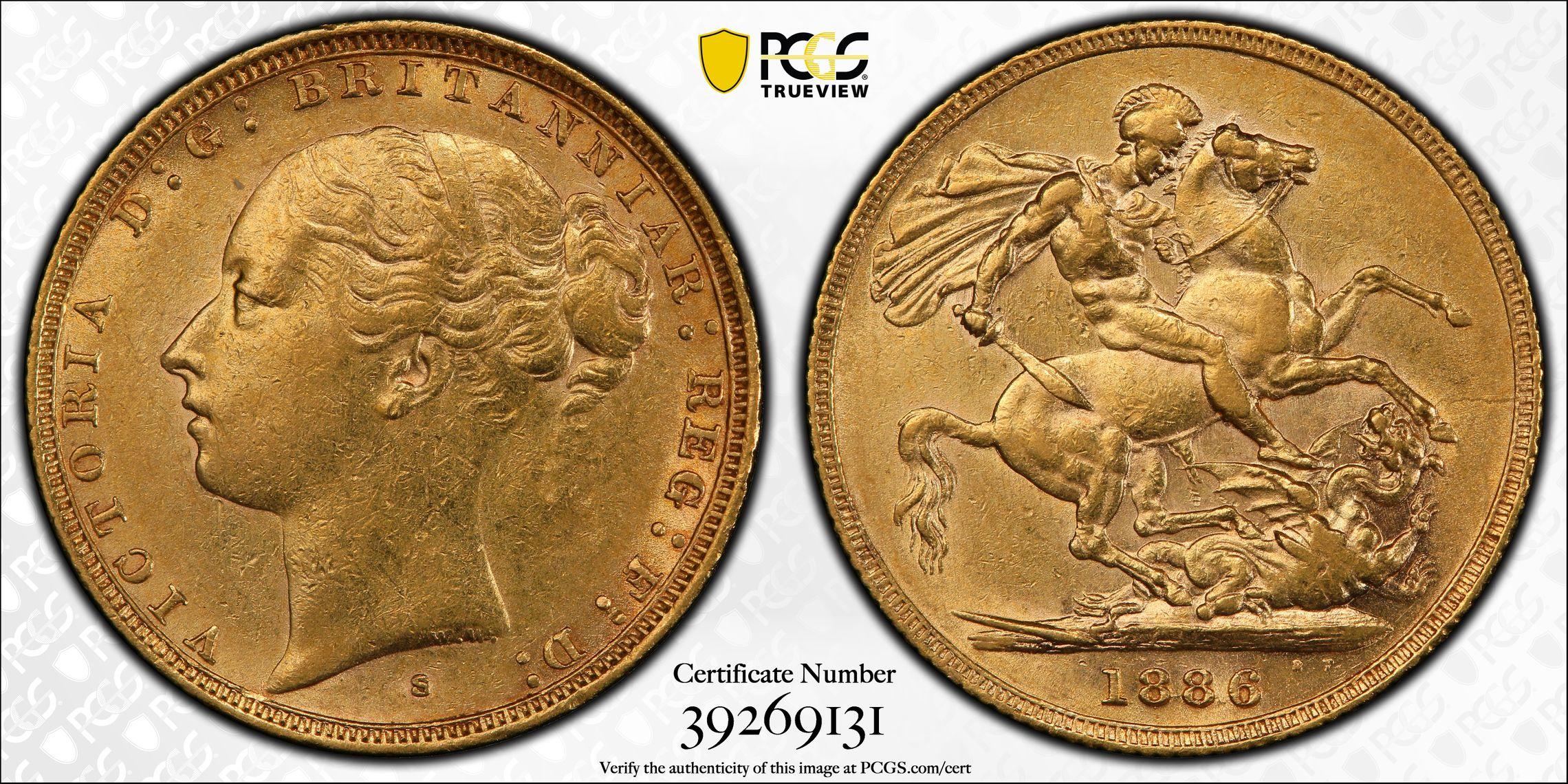 Australia 1886 Sydney Sovereign PCGS AU55