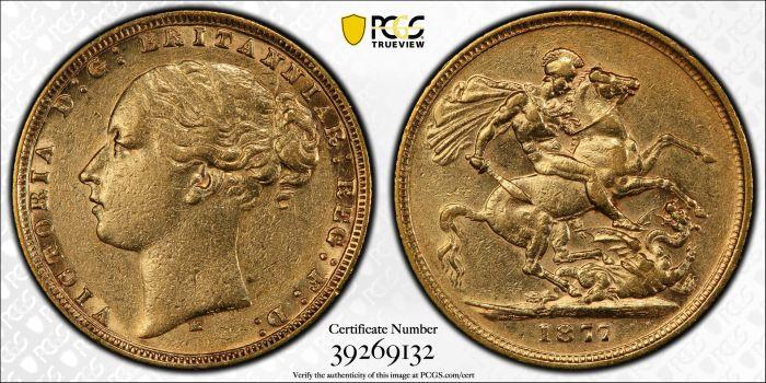 Australia 1877 Melbourne Sovereign PCGS AU50