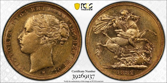Australia 1882 Melbourne Sovereign PCGS AU55
