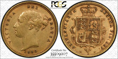 Australia 1886 Sydney Half Sovereign PCGS AU50