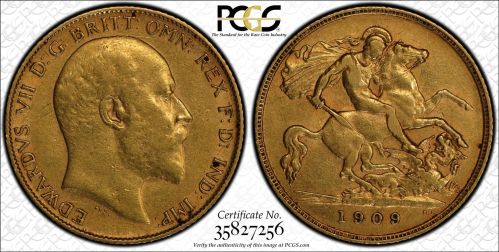 Australia 1909 Perth Half Sovereign PCGS AU50