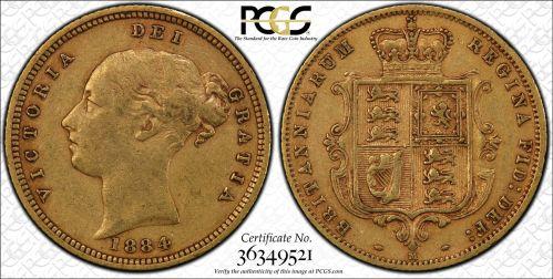 Australia 1884 Melbourne Half Sovereign PCGS XF45