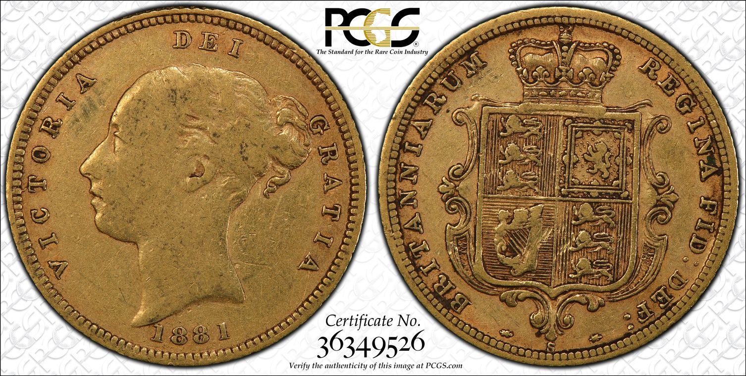 Australia 1881 Sydney Half Sovereign PCGS VF25