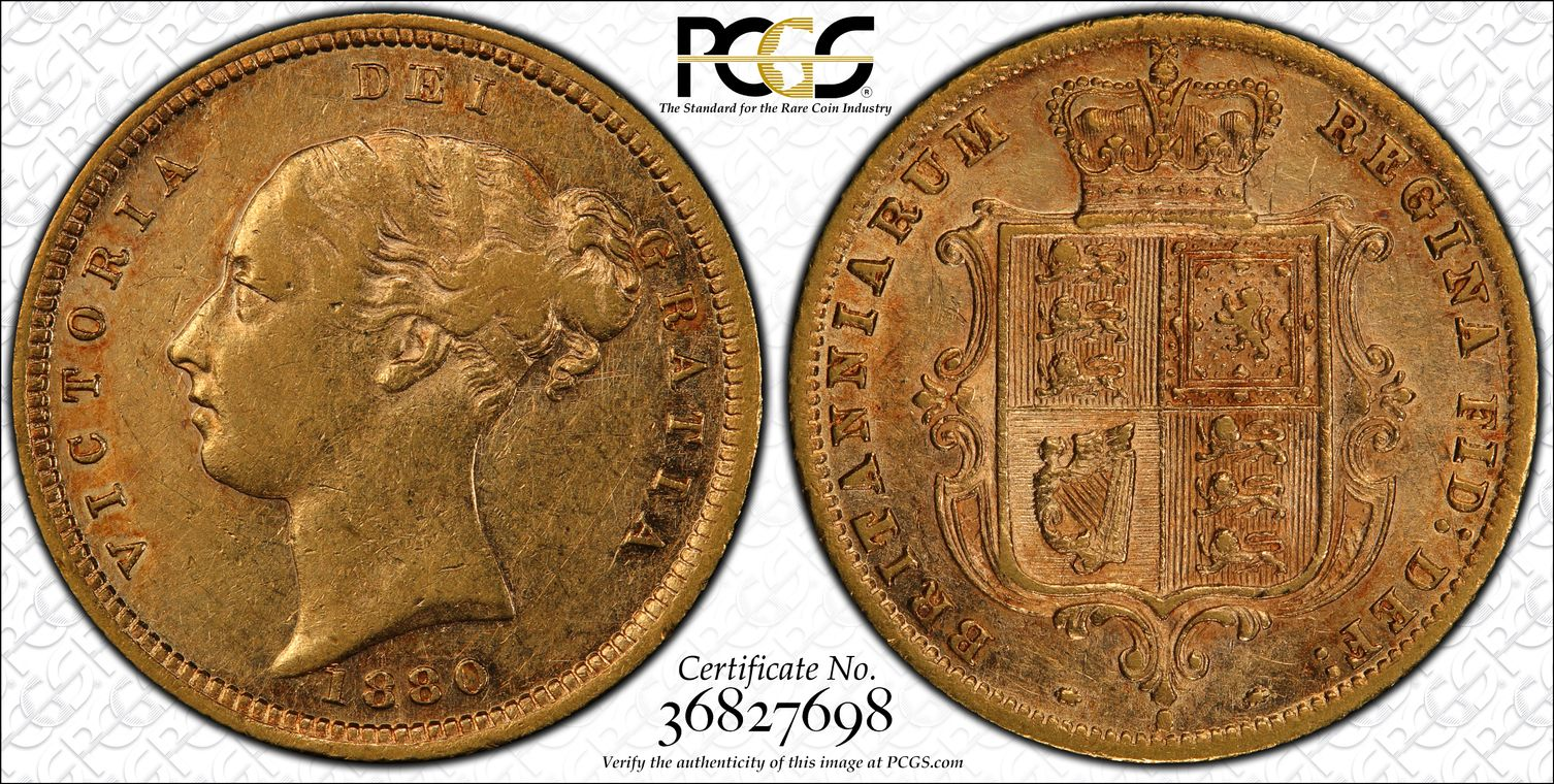 Australia 1880 Sydney Half Sovereign PCGS AU50