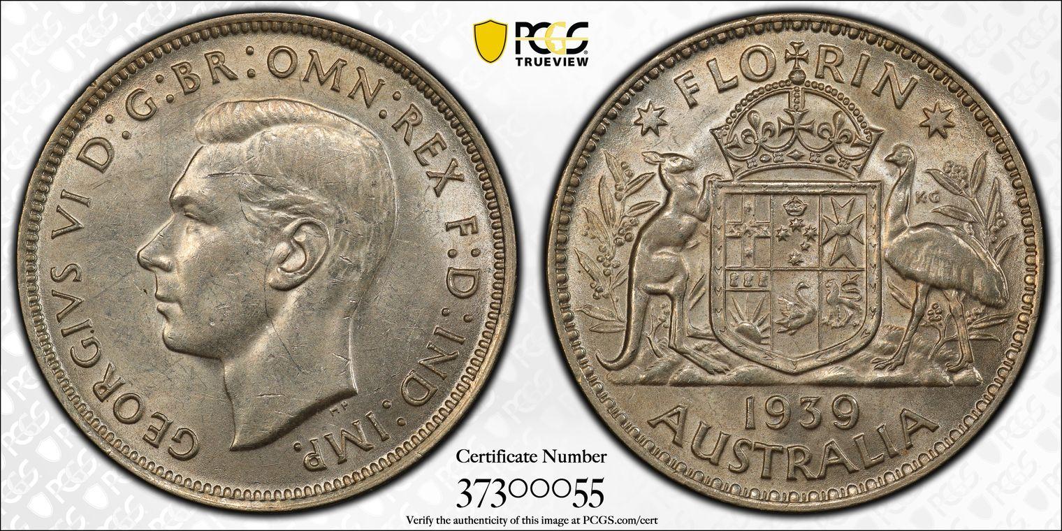 Australia 1939 Florin PCGS MS61
