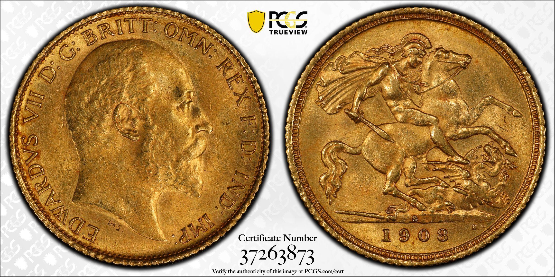 Australia 1908 Sydney Half Sovereign PCGS MS62