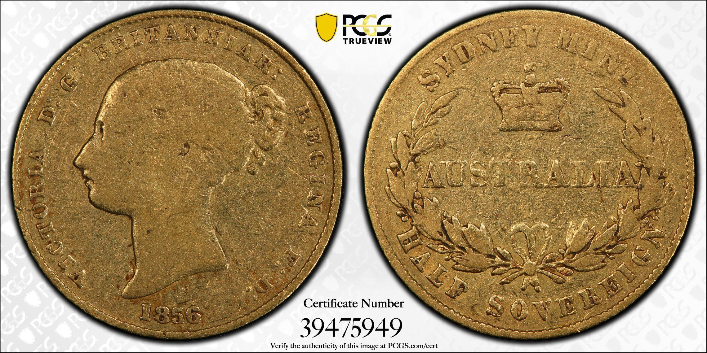 1856 Sydney Half Sovereign PCGS F12