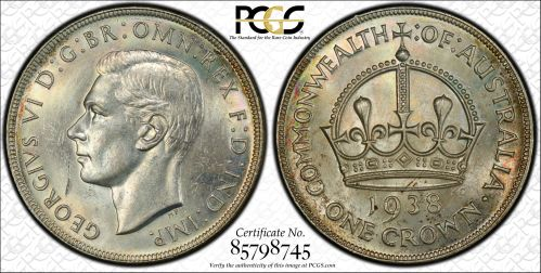 Australia 1938 Crown PCGS MS63