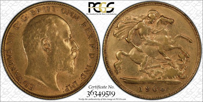 Australia 1904 Perth Half Sovereign PCGS AU55