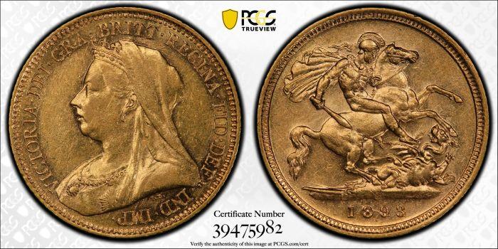 Australia 1893 Sydney Half Sovereign PCGS AU53