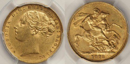 Australia 1878 Melbourne Sovereign PCGS AU58