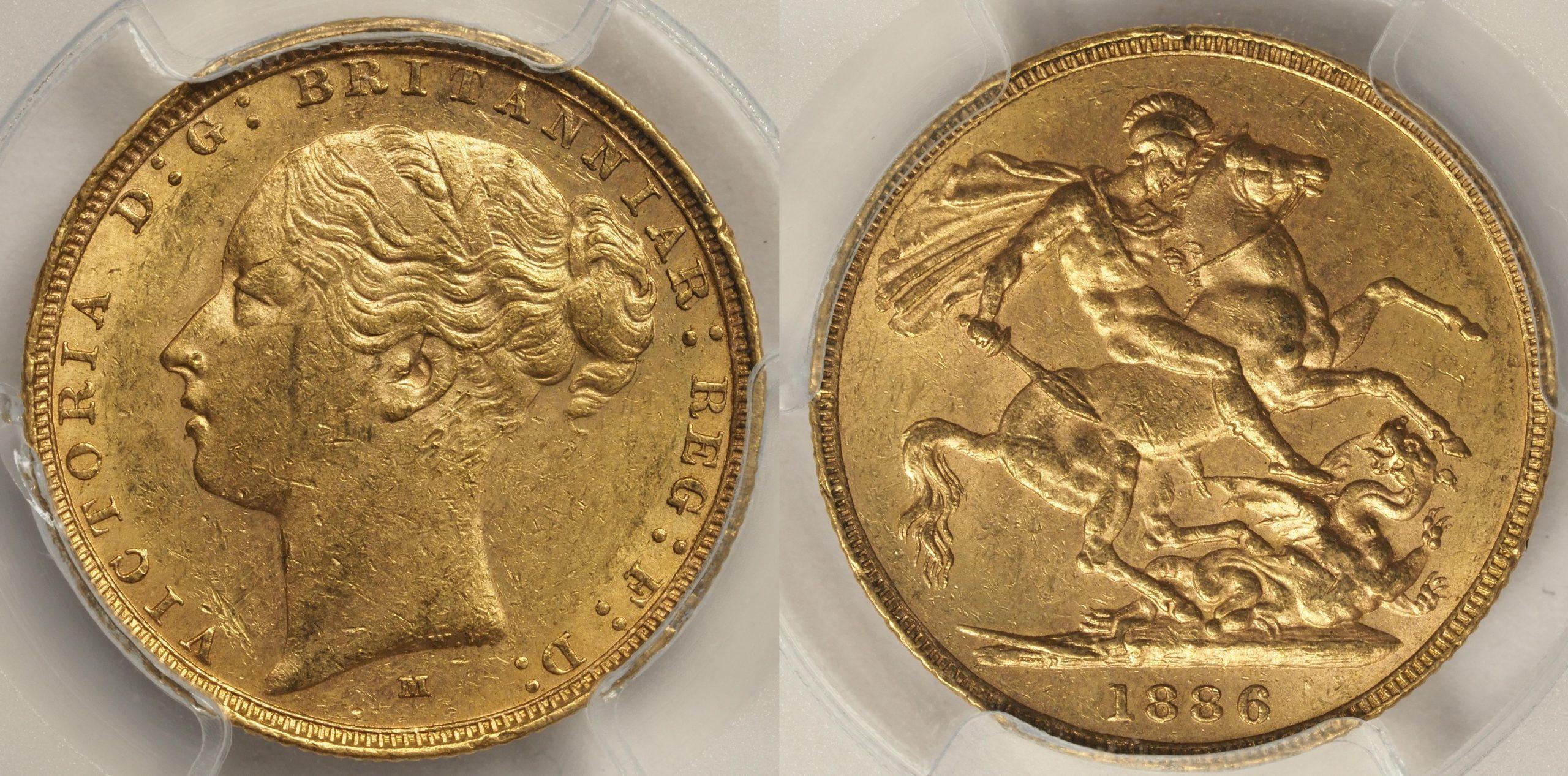 Australia 1886 Melbourne Sovereign PCGS AU58