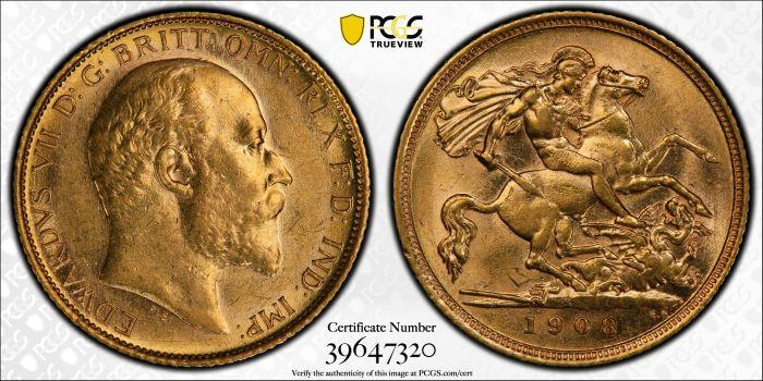 Australia 1908 Sydney Half Sovereign PCGS AU58