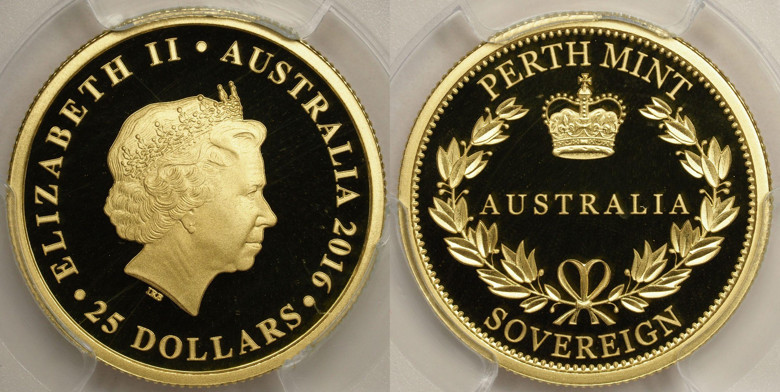 Australia 2016 Perth Mint $25 Sovereign PCGS PR69