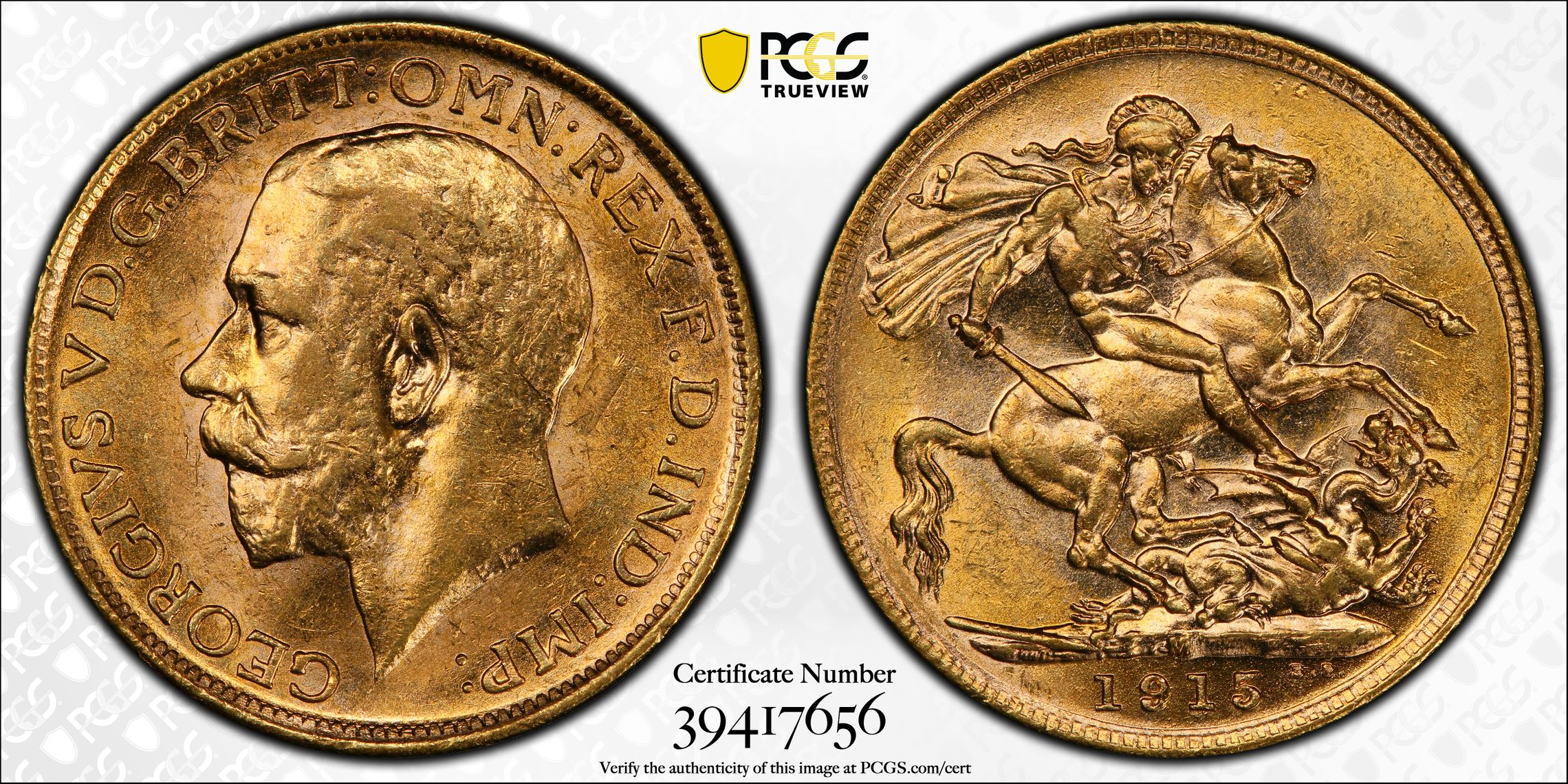 Australia 1915 Melbourne Sovereign PCGS MS62