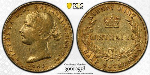 Australia 1865 Sydney Half Sovereign PCGS XF45