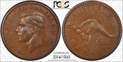 Australia 1943-I Penny PCGS AU50