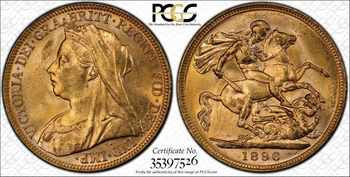 Australia 1896 Melbourne Sovereign - PCGS MS64