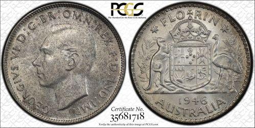 Australia 1946 Florin PCGS MS64+