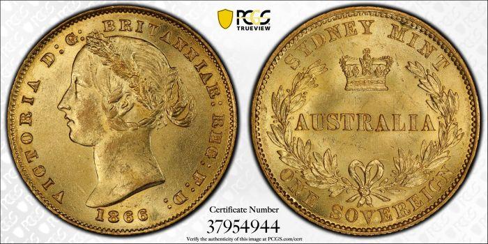 Australia 1866 Sydney Sovereign PCGS MS63