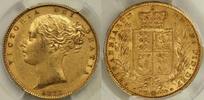 Australia 1873 Sydney Sovereign - PCGS AU58