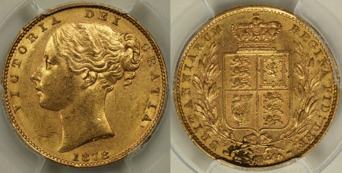 Australia 1878 Sydney Sovereign - PCGS AU58