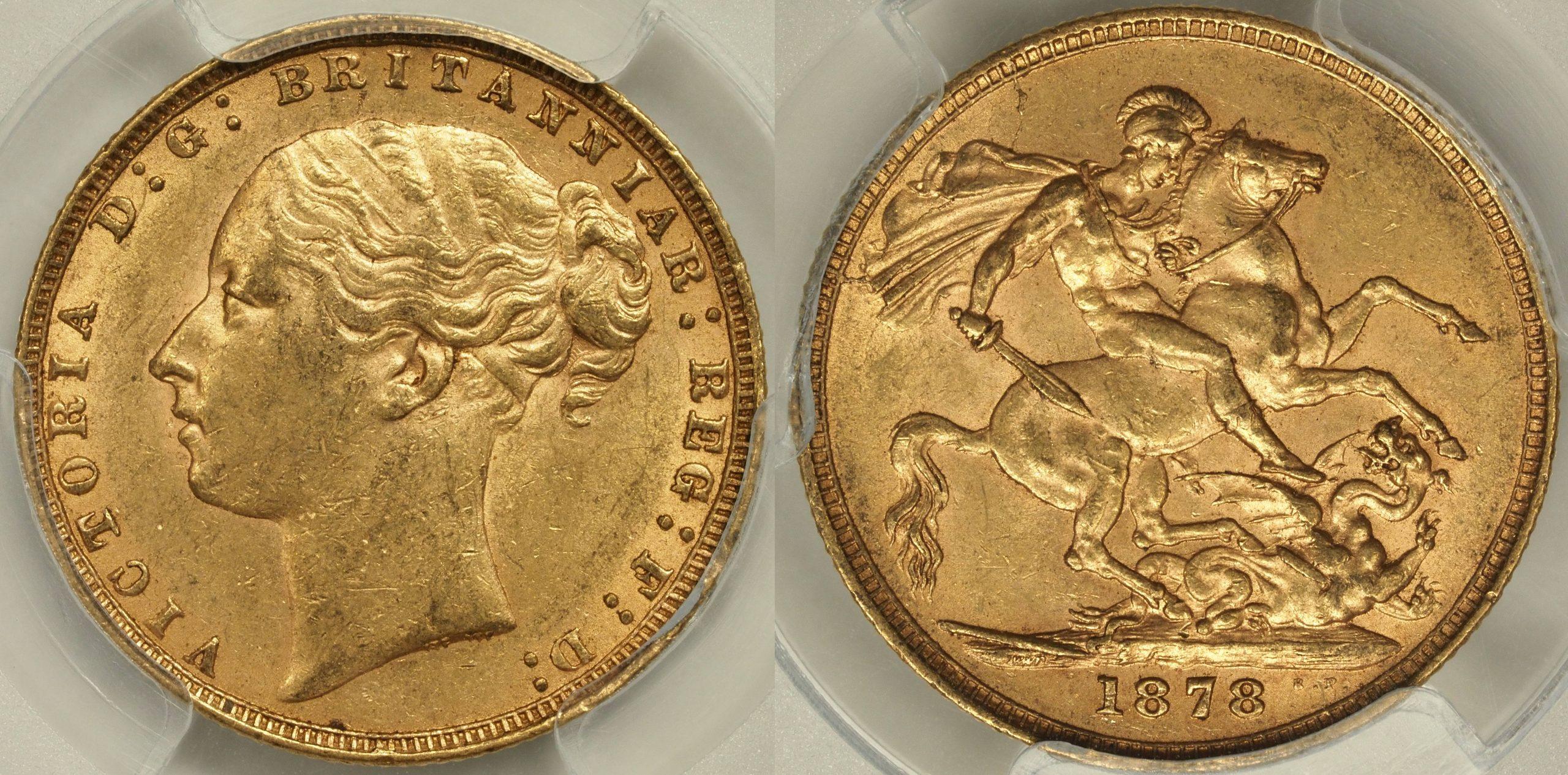 Great Britain 1878 Sovereign - PCGS AU58