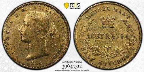 Australia 1862 Sydney Half Sovereign - PCGS XF Details