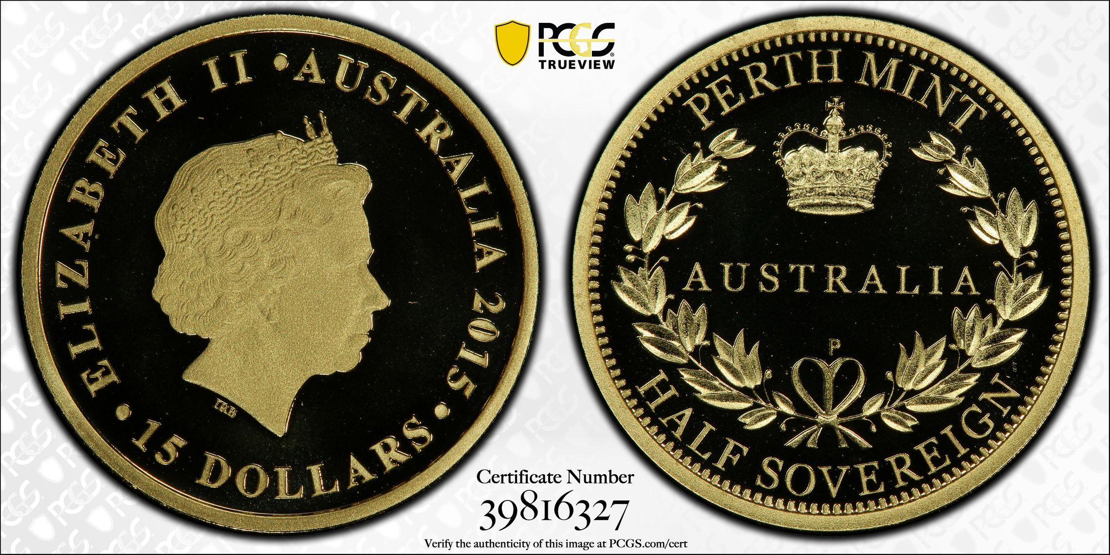 Australia 2015 Perth Half Sovereign - PCGS PR70