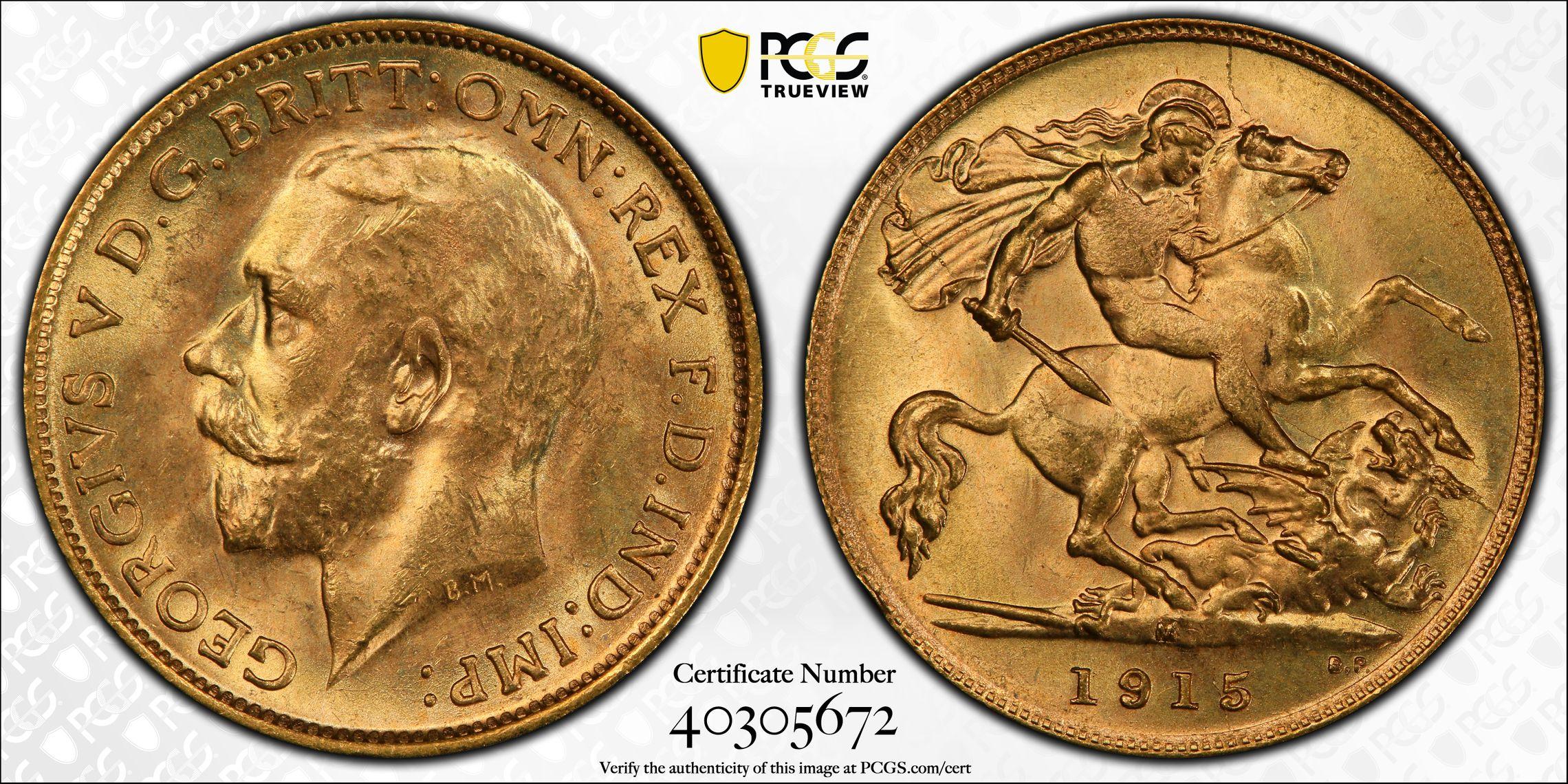 Australia 1915 Melbourne Half Sovereign - PCGS MS64+