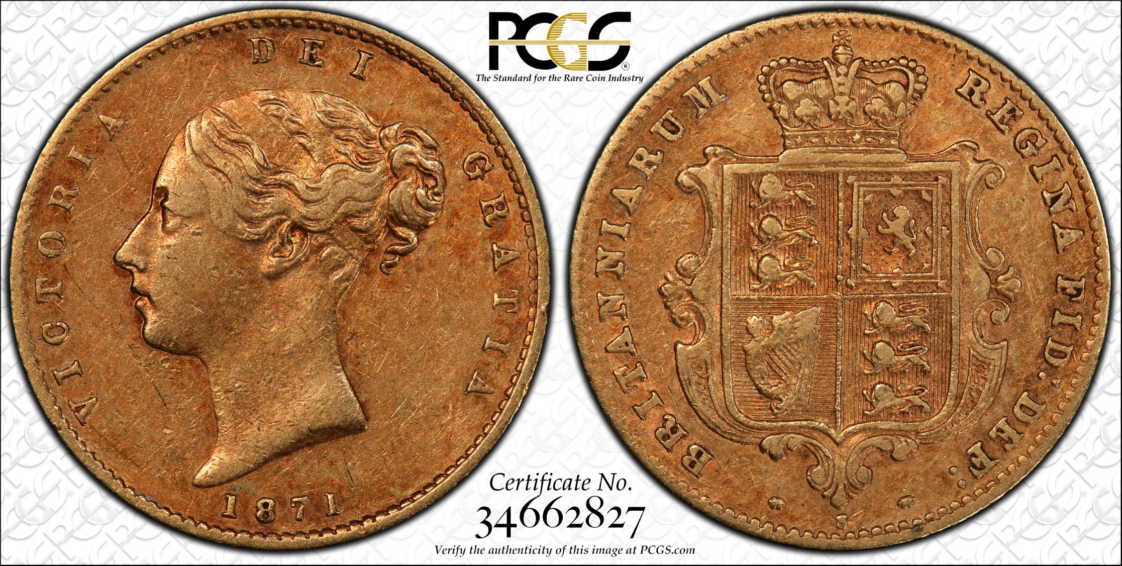 Australia 1871 Sydney Half Sovereign - PCGS XF45