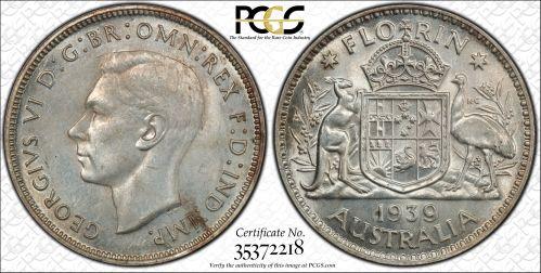 Australia 1939 Florin PCGS MS63
