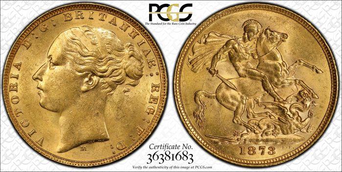 Australia 1873 Melbourne Sovereign PCGS MS62