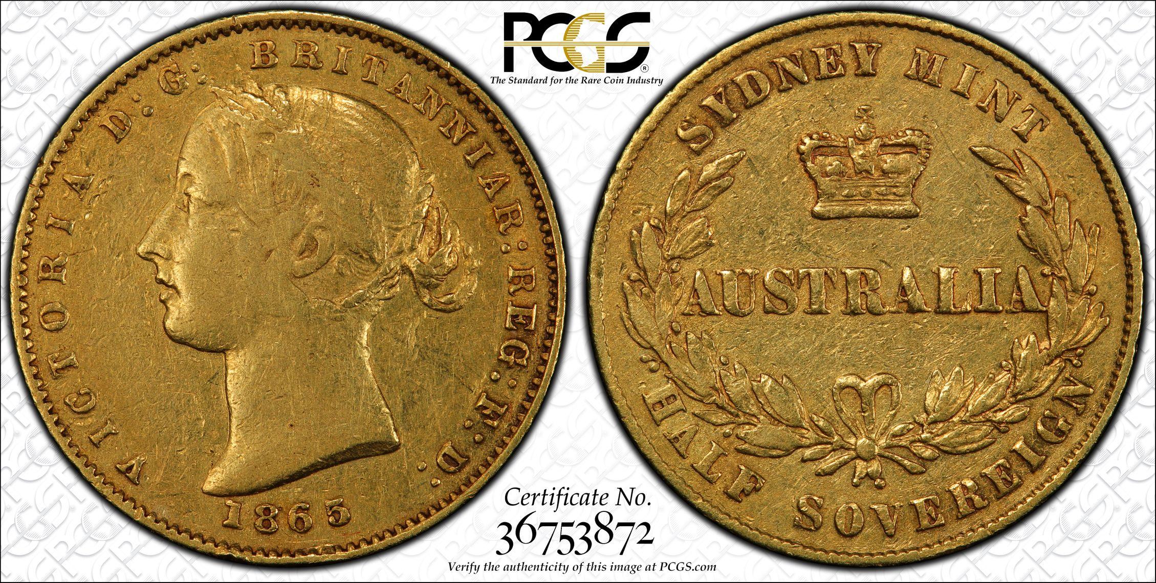 Australia 1865 Sydney Half Sovereign - PCGS XF40