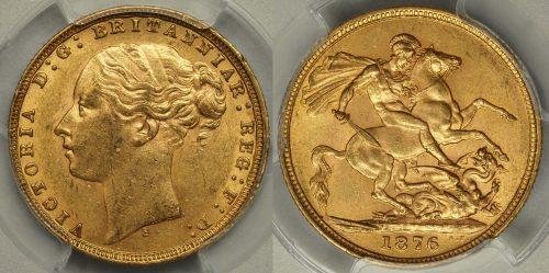 Australia 1876 Sydney Sovereign - PCGS MS61
